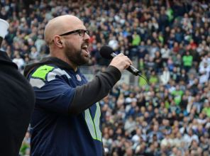 Marcus Shelton performing at Seahawks game; photo by Brandan Schulze.
