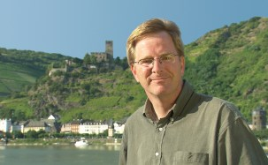 Rick Steves on the Rhine River in Germany.
