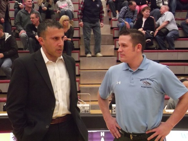 Mountlake Terrace Coach Nalin Sood and Meadowdale Coach Andy Streit prior to Friday's game.