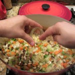 Add the minced garlic, sauté until you can start to smell it, about 2 minutes.