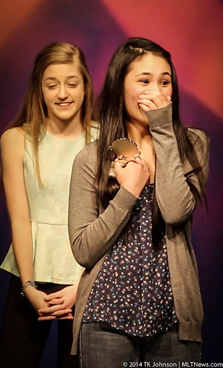Edmonds-Woodway's Caitlin Yanos shows her surprise at winning the judge's award. Mountlake