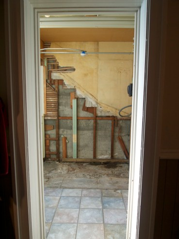 Outline of staircase uncovered during renovation.
