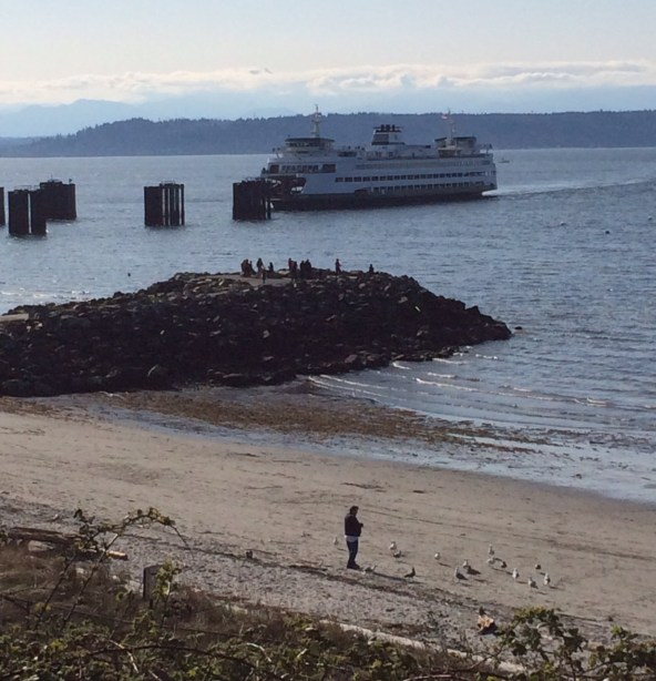 It felt like spring along the Edmonds waterfront Sunday, and David Carlos captured scenes from the day. Here, beach walkers at Brackett's Landing.