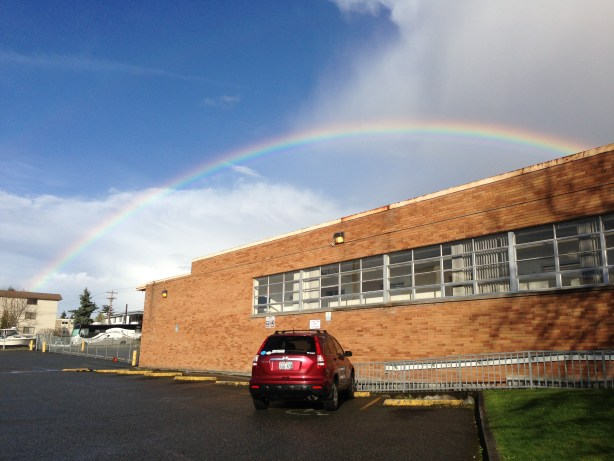 From Jennifer Benson -- Even a simple Saturday afternoon trip to the Edmonds Post Office can be beautiful when it includes a rainbow.