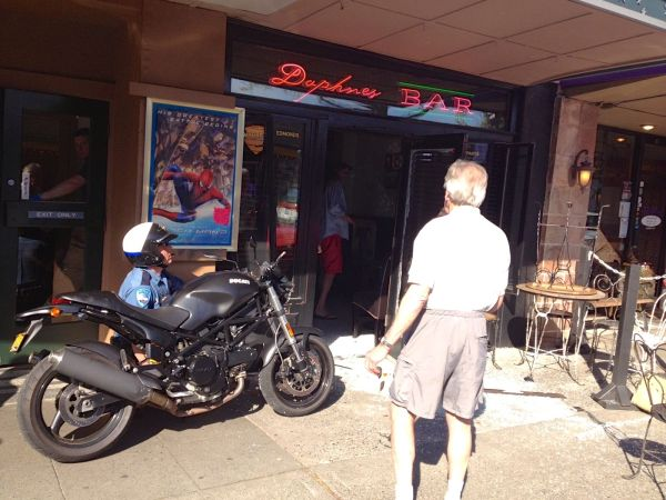 As a followup to our story Thursday about the motorcycle that crashed into Daphne's Bar in downtown Edmonds, here's a photo that a passerby sent us shortly after the incident occurred.