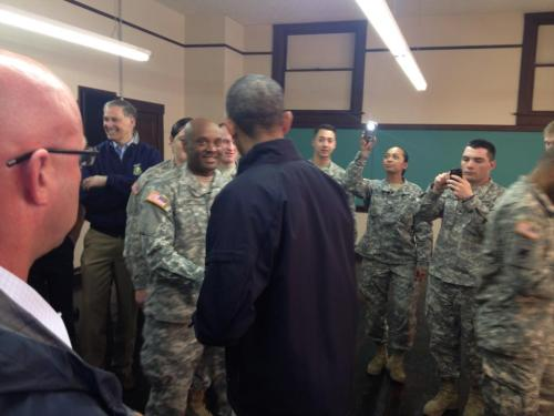 Edmonds resident Jaime Jamison and his National Guard unit were personally thanked by President Obama during his visit to the Oso mudslide area.  After meeting with members of the community, the President met with responders, and thanked each personally. Here the President presents Jamison with a medal in recognition of his efforts.