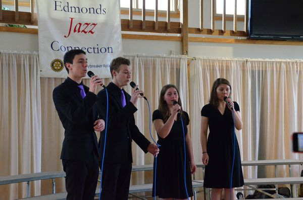 The Edmonds-Woodway High School Mello-aires show off their vocal jazz virtuosity at the Edmonds Conference Center. L to R are Nick Birkby, Luke Miraba, Leah Kerr, and Gabby Benuska.