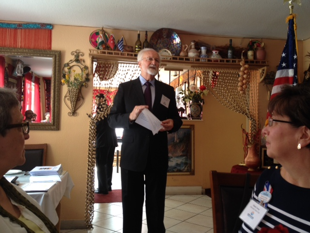 Mayor Dave Earling dropped by the Edmonds Chamber of Commerce luncheon Thursday at Caravan Kebab in Firdale Village.