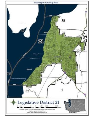 Washington State's 21st legislative district includes parts of Edmonds, Lynnwood and Mukilteo.