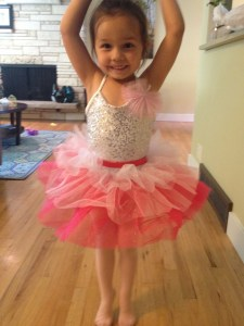 "4-year old Lilah Pickett (daughter of Nicole and Jacob Pickett) practices her ballet positions in preparation for Sunday's ""Art in Motion"" dance recital."