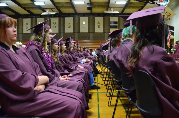 The Scriber Lake High School graduating class listens to speakers as they prepare to receive their diplomas.