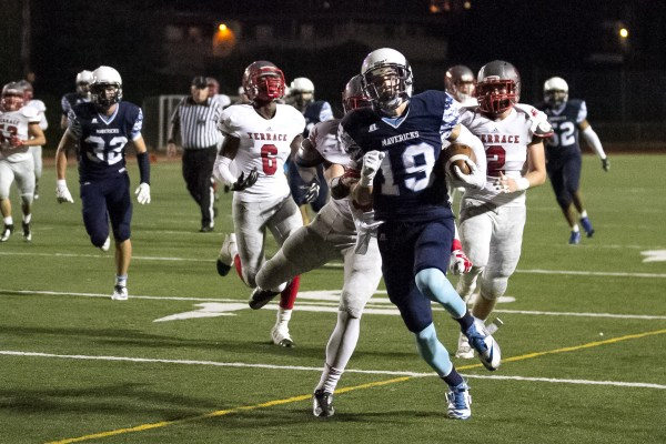 Meadowdale wide receiver Harrison White scores Meadowdale's second touchdown of the night.