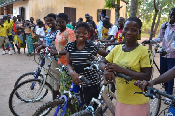 Donated bikes are put to good use -- helping girls in West Africa get to school.