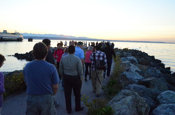 Participants walk along the Brackett's Landing jetty. (Photos by Larry Vogel)
