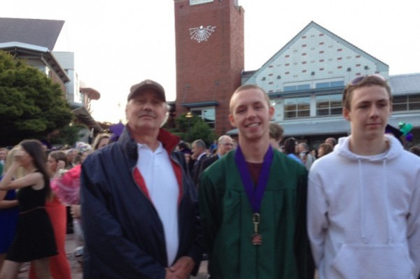 Cory Rice with sons Brad, center, and Jordan after Brad's graduation from Edmonds-Woodway.