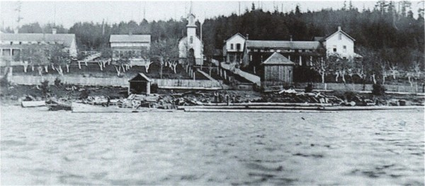 St. Anne Catholic Mission Church, Mission Beach, Tulalip Indian Reservation, about 1870.