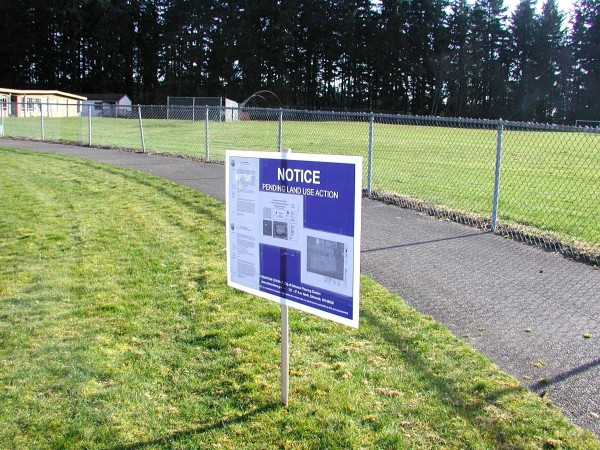 A sign alerting passersby to the changes planned for the playfields at Old Woodway High School.