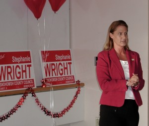 Stephanie Wright speaks to supporters in the Edmonds Library Plaza Room Wednesday night.
