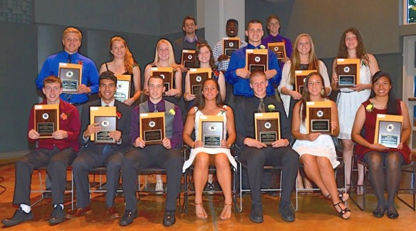 A group photo of all the athletes recognized Wednesday night. (Photos by Karl Swenson)
