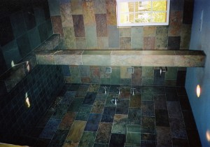 "Rajah ""Multi-color"" slate walls with Burlington Clear-water slate floor and pan from England's Lake District."