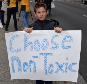 Issac Carrigan, a student at Edmonds Heights K-12, makes his feelings known.