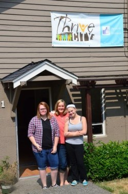 Philley (center) stands with Lynn and Shaw-Wagner outside the Thrive City Center next to the Edmonds Library.