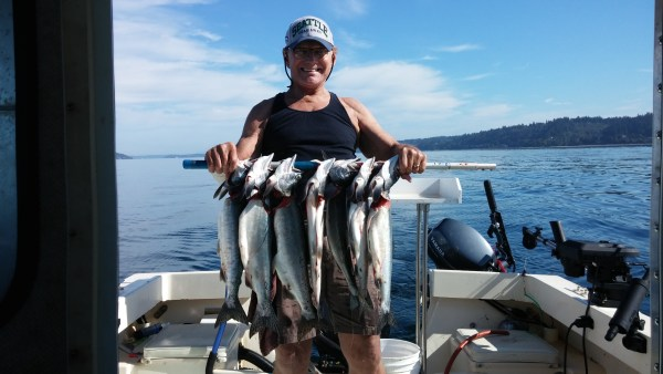 Dave Page sent this photo of the limit on humpies that he and his wife Mindy caught Tuesday at the old shipwreck by Picnic Point.
