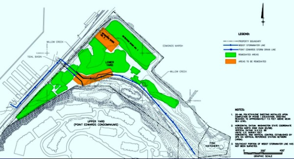 This site map of the lower yard area shows the areas already remediated in green, and the two remaining areas to be addressed in orange.