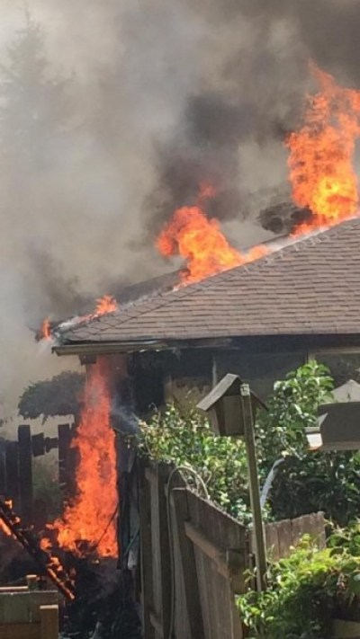 The West family sent photos of a house fire Sunday afternoon. (Photo by Sabrina West)