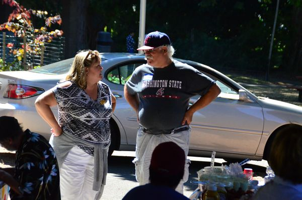 Council President Adrienne Fraley-Monillas chats with Bill Anderson.