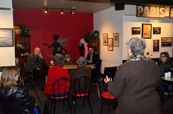Cafe Louvre was the setting for the latest Coffee with Harry event, featuring Edmonds City Council candidates Alicia Crank and Dave Teitzel. My Edmonds News videotaped the event and that -- along with a story summarizing the candidate questions and answers -- will be appearing in the very near future. (Photo by Larry Vogel)