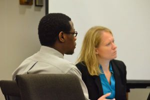 Christopher V. Cowan with attorney Jennifer Bartlett.