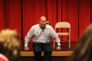Edmonds School District Superintendent Nick Brossoit met with a small group of community meeting attendees at Mountlake Terrace High School Tuesday night.
