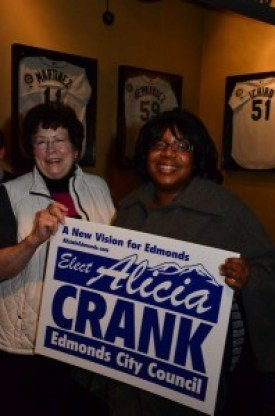 Alicia Crank with one of her supporters, State Sen. Marilyn Chase, Tuesday night.