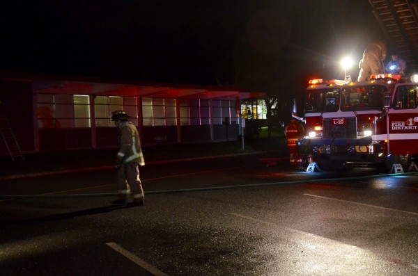 A firefighter at the scene of Sunday's fire.