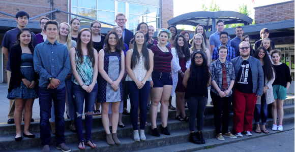 CTE award winners gather for a group photo, courtesy of the Edmonds School District.
