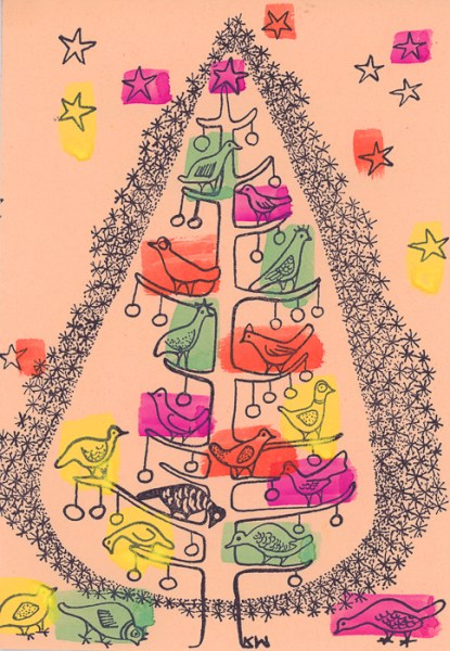 Katherine Westphal Rossbach (b. 1919), Christmas tree design with birds, 1948. Relief print with watercolor
