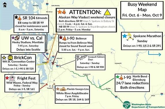 Your weekend traffic map courtesy Washington State Department of