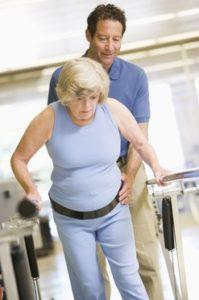 Lady undergoing rehab exercise