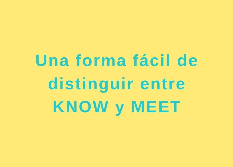 ¿Cuál es la diferencia entre know y meet?