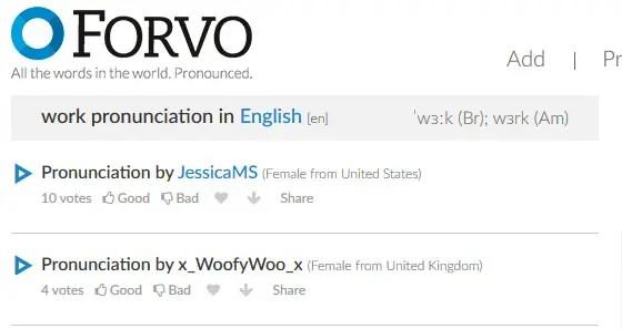 Escuchar pronunciaciones con Forvo