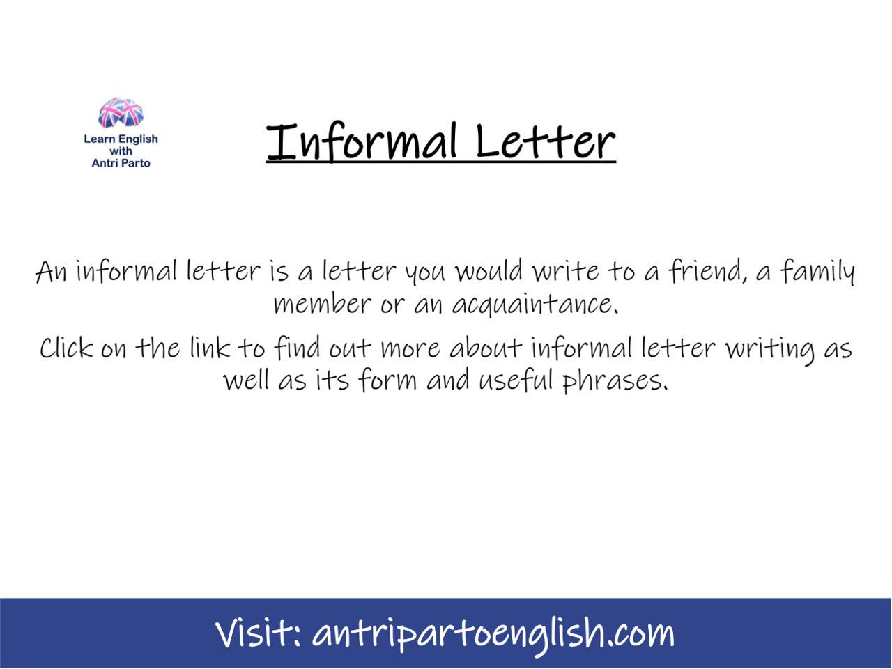 Informal Letter My Lingua Academy