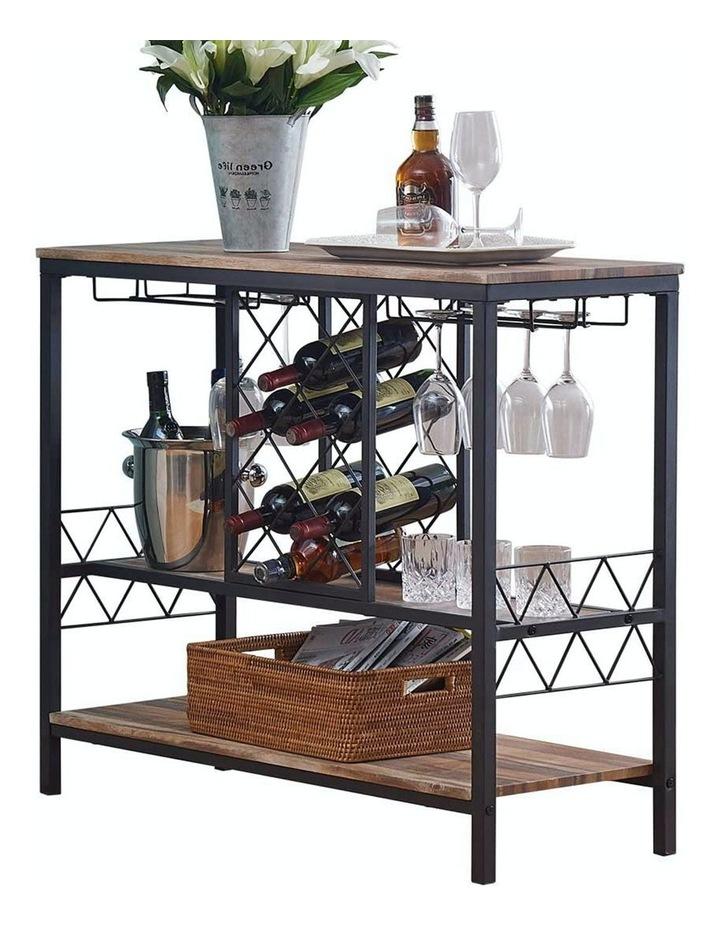 ihomdec industrial wine rack table with glass holder brown