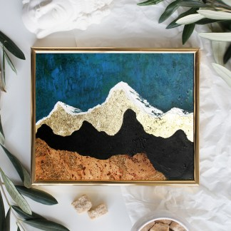 Golden frame mock-up on white tabletop background, home decor flatlay with plants and objects