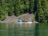 This barge passed us coming and going. The barge drive was kind enough to slow down and not make a big wake.