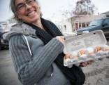 Christiane showed us her fresh eggs.