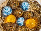 A basket of glass eggs