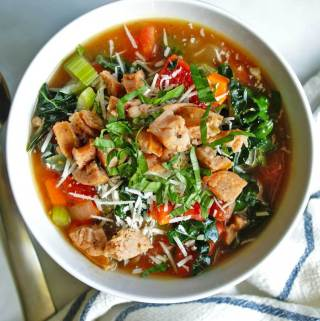 Italian Chicken Sausage & Vegetable Soup | anutritionisteats.com