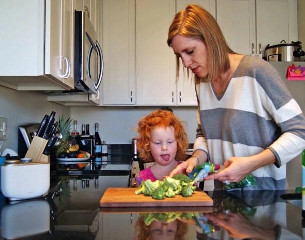 mom with broccoli