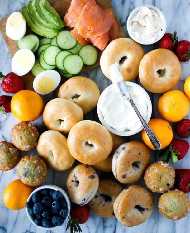 brunch platter with bagels and fruit